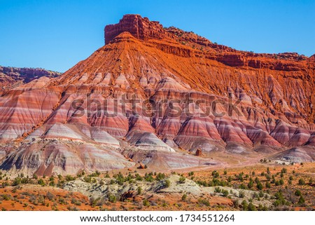 USA. Arizona, Utah. Paria Canyon-Vermilion Cliffs Wilderness Area. Picturesque spurs of red sandstone mountains. The concept of active, extreme and photo tourism #1734551264