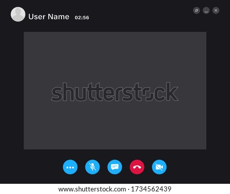 Video Call screen template. Video call Interface for social communication app. Video conference. Mockup Videoconferencing and online meeting workspace vector page #1734562439