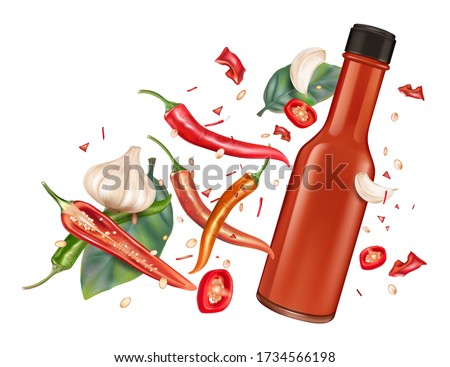 Red chili bottle mock up with chili, garlic splashing elements on solid color background. Vector realistic in 3D illustration. Royalty-Free Stock Photo #1734566198