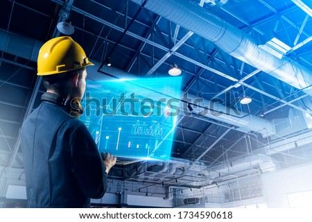 Technical engineer work smart factory machine IOT internet of thing digital technology, futuristic smart industry manufacturing digital process AI management technology app system automate robot contr #1734590618