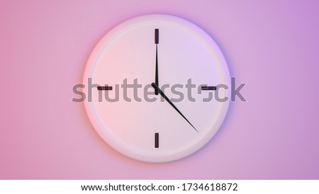 Concept of time Analog clock on pastel simple modern style background for banners, flyers, posters or websites. 3D rendering. Some white clocks. Front view #1734618872