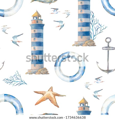 Watercolor nautical wallpaper. Vintage seamless pattern with lighthouse