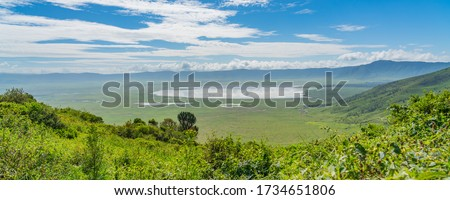 View over Ngorongoro Conservation Area. Ngorongoro Crater is a large volcanic caldera and a wildlife reserve. Royalty-Free Stock Photo #1734651806