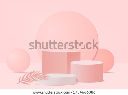Background vector 3d pink rendering with podium and minimal pink pastel color wall scene, minimal valentine background 3d rendering pink pastel color. podium 3d for product in valentine day background #1734666086