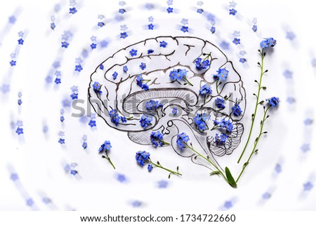 Human brain pencil drawing with blue flowers.