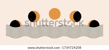 Abstract contemporary aesthetic background with Moon phases, geometric waves. Black and golden colors. Boho wall decor. Mid century modern minimalist art print. Organic natural shape. Magic concept.  #1734724208