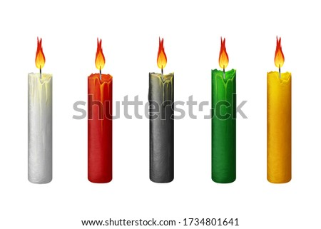 Bright thin candles. Halloween clip art set on white background