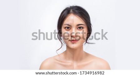 Comparison Asian women before and after applying makeup, Portrait asian girl compare fresh skin and makeup. #1734916982
