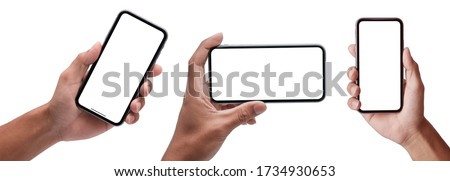 Studio shot of Hand holding Smartphone set iPhon Pro Max and Show space white screen for mobile Phone your web site design, logo, app - include clipping path.