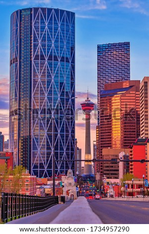 Scenic road leading to downtown Calgary Royalty-Free Stock Photo #1734957290