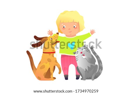 Friends forever a girl and a puppy dog and cat child clip art cartoon kids graphic. Blonde toddler girl hugging cat and dog playing together happy friends.