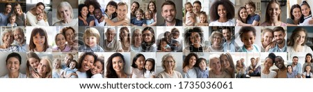 Collage mosaic of many happy multiracial people couples and families, old young generation adults and kids of diverse ethnicity faces headshots closeup portraits. Horizontal banner for website design. #1735036061