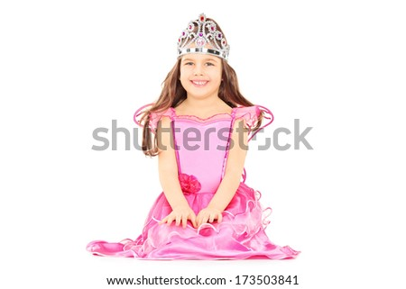 Cute little girl dressed up as princess wearing a tiara isolated on white background #173503841