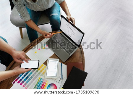 Creative Team Meeting to Discuss the Terms of Use of Original Product Colors for Product Design in Coworking Space, Teamwork modern Cooperation concept with copy space for text