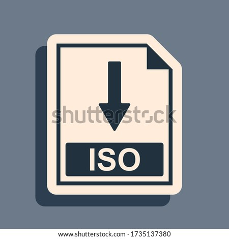 Black ISO file document icon. Download ISO button icon isolated on grey background. Long shadow style