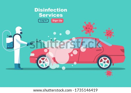 Car disinfection services. Cleaning and washing vehicle. Prevention coronavirus covid-19. Man in hazmat. Spraying from bacteria. Vector flat design. Clean surfaces in car with a disinfectant spray. #1735146419