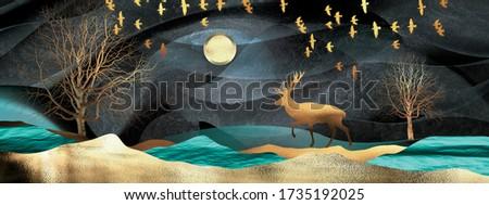 3d illustration of moon, deer and flock of flying birds