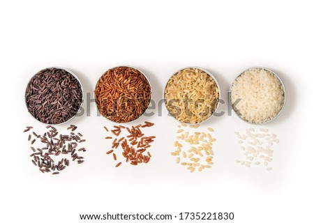 Top view closeup or macro various type and color rice white glutinous, black, basmati, Jasmine brown and thai red mixed rice, sushi rice on white background. Healthy food concept. Flat lay. #1735221830