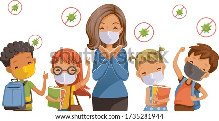 Back to school for new normal concept. Preventing disease, Covid-19. Children wearing sanitary masks. Gesture of teachers, students and friends at the school. Vector illustration isolated.  #1735281944