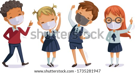 Back to school for new normal concept. Children uniform wearing sanitary masks. Gesture of students and friends at the school. Children in uniform. #1735281947