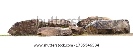The large stones are on the grass isolated on white background.clipping path. Royalty-Free Stock Photo #1735346534