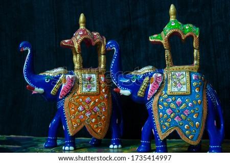 Rajasthani Handicrafts Hand made heavy work Ambabari Elephant Sawari of King Lucky Charm multi color with clean finish