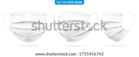 Surgical face mask vector illustration. White medical protective masks from different angles, isolated on white. Corona virus protection mask with ear loop, in a front, three-quarters, and side views. Royalty-Free Stock Photo #1735456742