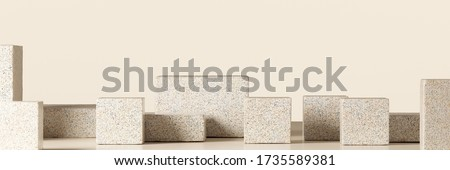 Cosmetic background for product presentation. Beige stone podium on beige background. 3d rendering illustration.