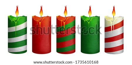 Bright big Christmas candles. Clip art set on white background