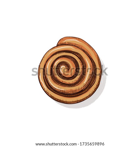 Hot Fresh homemade French bun cinnamon. Hand drawn vector illustration in sketch style. Bakery food Royalty-Free Stock Photo #1735659896