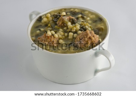 Beef barley Soup. Classic American restaurant or diner favorite. Diced vegetables, celery, beans, chili peppers, carrots, onions, garlic, sautéed in olive oil, broth & slow cooked. American favorite. #1735668602