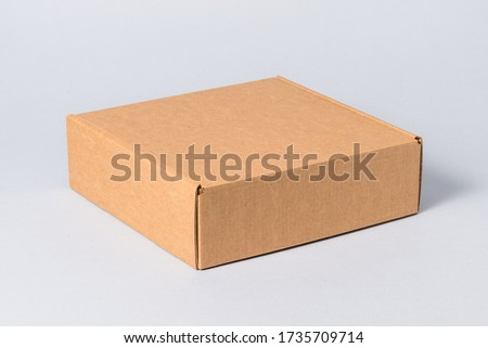 White carton gift box with cover, isolated Royalty-Free Stock Photo #1735709714