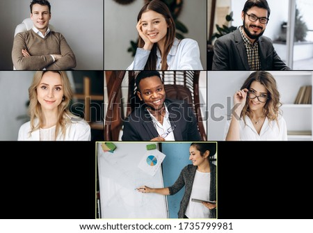 Online learning. Group online learning by video conference. The teacher teaches his students remotely. View of people on screen of a laptop Royalty-Free Stock Photo #1735799981