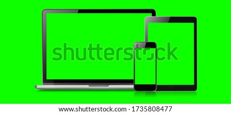 Mockup image of Laptop, tablet and mobile blank green screen in vertical position isolated on green background, Concept device mockup.