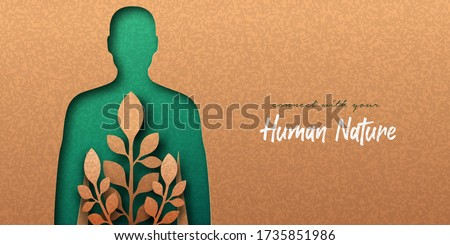 Green man papercut illustration with plant leaf growing inside. Eco-friendly people lifestyle, nature connection or natural medicine concept. Human nature. 3d cutout in recycled paper background. #1735851986