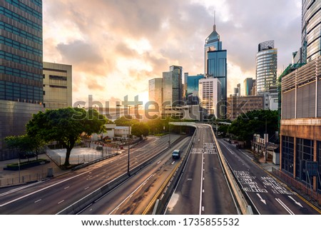the new normal concept. Empty road in Hong kong capital city. people stay home during covid-19. After the epidemic, coronavirus COVID-19 virus caused motivation new normal in traffic road worldwide Royalty-Free Stock Photo #1735855532