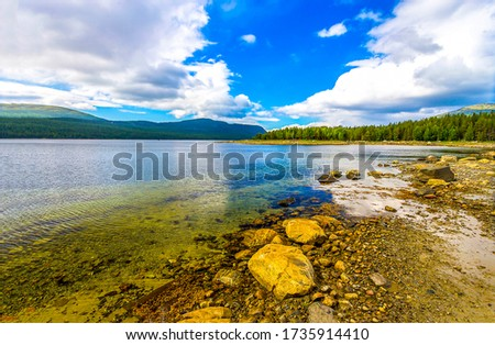 Mountain valley lake water landscape. Summer lake water #1735914410