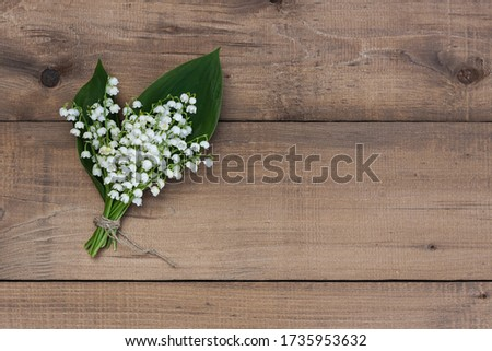A bouquet of lilies of the valley tied with twine on a wooden background. #1735953632