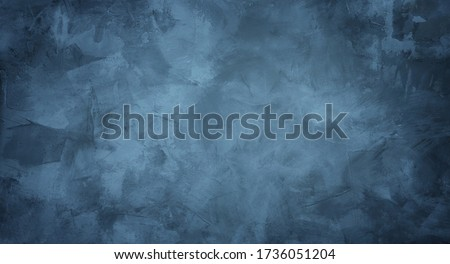 Beautiful grunge grey blue background. Panoramic abstract decorative dark background. Wide angle rough stylized mystic texture wallpaper with copy space for design. Royalty-Free Stock Photo #1736051204
