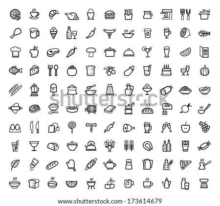 vector food icons set Royalty-Free Stock Photo #173614679