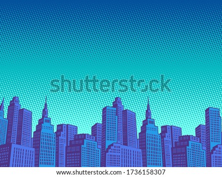 night modern city with skyscrapers. Pop art retro vector illustration vitch vintage 50s 60s style Royalty-Free Stock Photo #1736158307