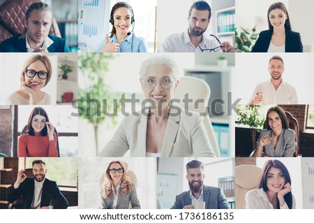 Collage photo computer webcam screen full frame view business coaching lesson young people group listen aged ceo boss lady call online meeting visual virtual analyzing quarantine marketing Royalty-Free Stock Photo #1736186135