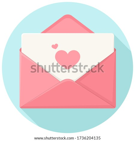 Vector Romantic icon love pink envelope. Stock illustration pink love envelope with letter in flat style