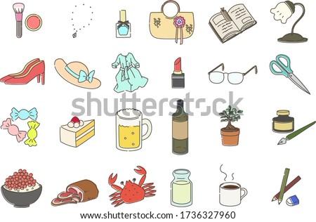 Set illustration of miscellaneous goods Royalty-Free Stock Photo #1736327960