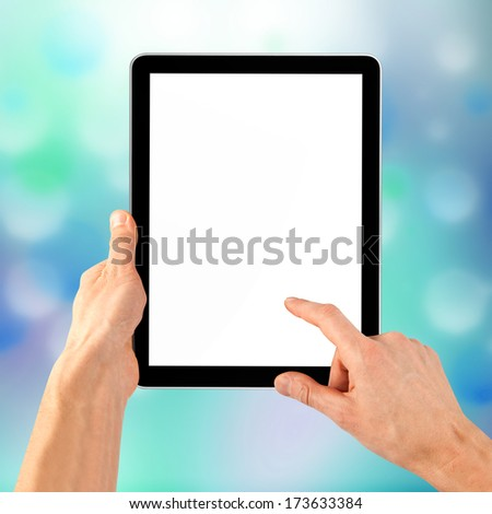 cellphone tablet like ipade in hand for advertisement. computer