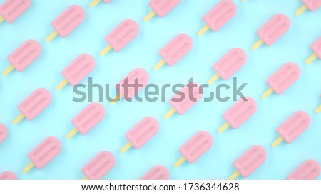 Background, pattern with pink fruit, sweet, juicy, fresh popsicles on pastel blue background. Summer minimalism. Ice cream illustration background. Creative pastels concept. Stock 3d rendering.