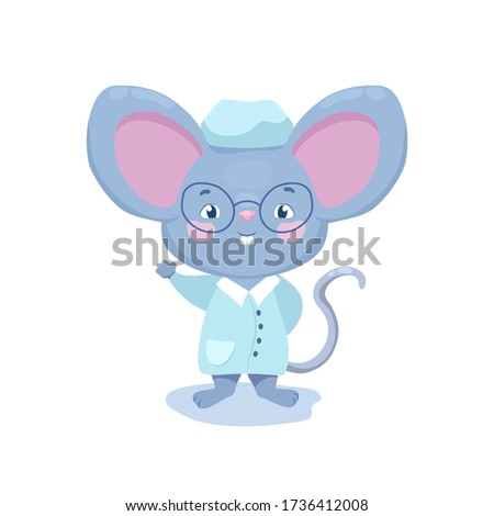 Cute doctor mouse in glasses vector character on white background. Kids doctor mascot isolated. Nerdy doctor character in glasses. Medical clinic icon. Children medical and health care character