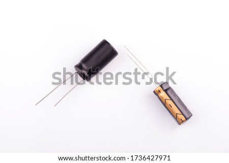capacitor close-up. capacitor on a white background #1736427971
