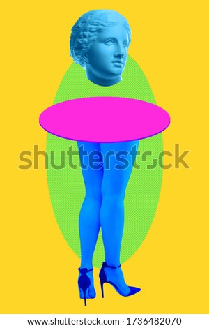 Picture of venus head instead of body and woman's beautiful blue legs in high heels shoes on acid yellow color background. Disco lights. Surreal art. Funny modern art collage. Pop art. Zine culture.