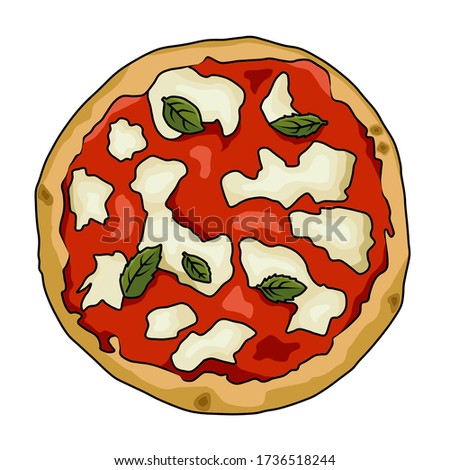 Pizza margherita baked in the oven